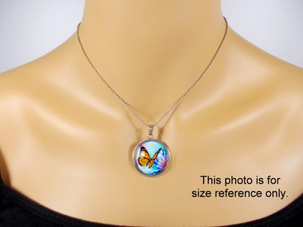 Blue Butterfly Pendant Glass Photo Pendants