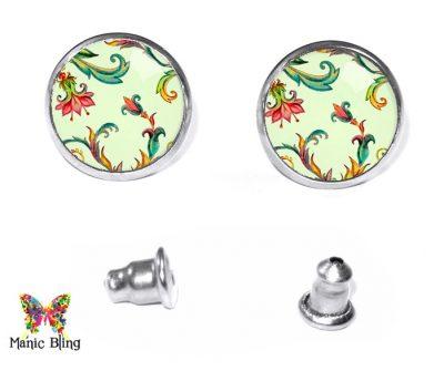 Green Floral Stud Earrings Post Earrings