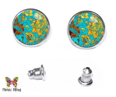 Gold Turquoise Stud Earrings Post Earrings