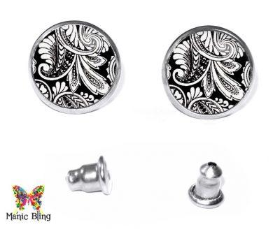 Black Paisley Stud Earrings Post Earrings
