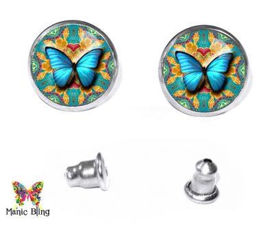 Aqua Butterfly Stud Earrings Post Earrings