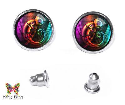 Steampunk Chameleon Stud Earrings Post Earrings