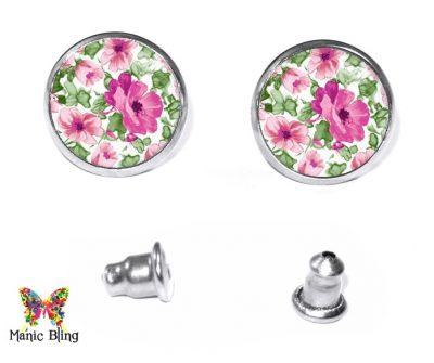 Pink Flowers Stud Earrings Earrings