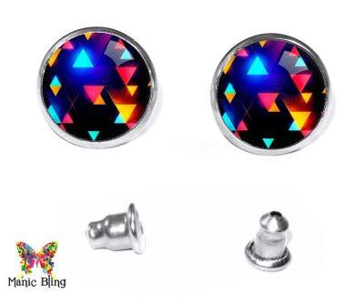 Neon Triangles Stud Earrings Post Earrings