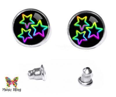 Neon Stars Stud Earrings Post Earrings