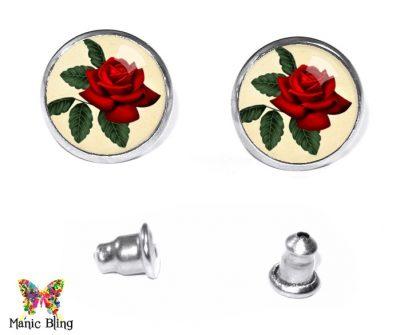 Vintage Rose Stud Earrings Earrings