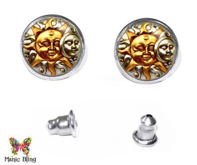 Sun Moon Stud Earrings Earrings