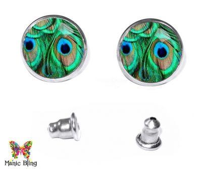 Green Feathers Stud Earrings Earrings
