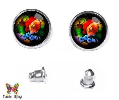 Black Floral Stud Earrings Earrings