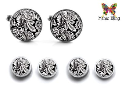 Black Paisley Cufflink Set