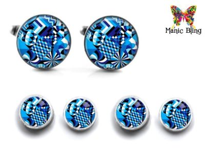 Blue Abstract Cufflink Set