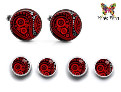 Red Paisley Cufflink Set
