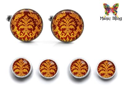 Red Damask Cufflink Set