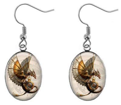 Steampunk Dragon Earrings Dangle Earrings