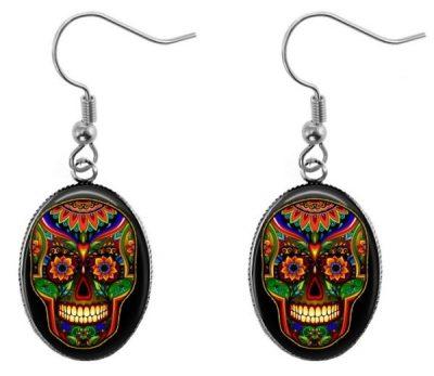 Colorful Sugar Skull Earrings Dangle Earrings