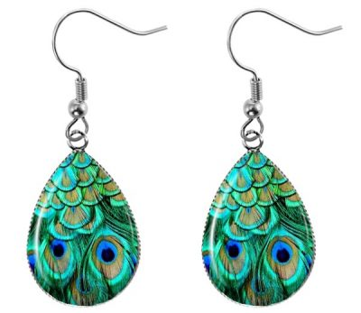 Peacock Feather Teardrop Earrings Dangle Earrings