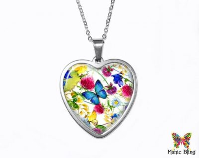 Spring Wildflowers Heart Pendant Heart Pendants