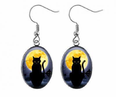 Full Moon Cat Earrings Halloween