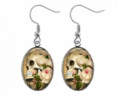 Vintage Skull Earrings Halloween