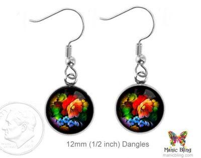 Black Floral Earrings Dangle Earrings
