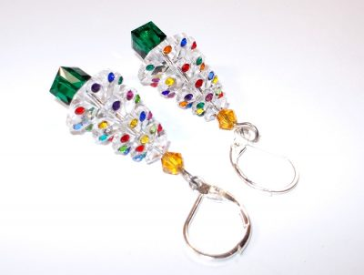 Swarovski Clear Christmas Tree Earrings Christmas & Thanksgiving