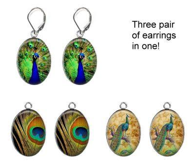 Peacock Interchangeable Earrings Earrings