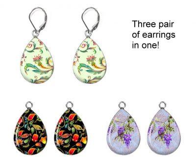 Colorful Floral Interchangeable Earrings Earrings