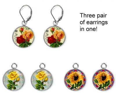Vintage Flower Earrings Set Earrings
