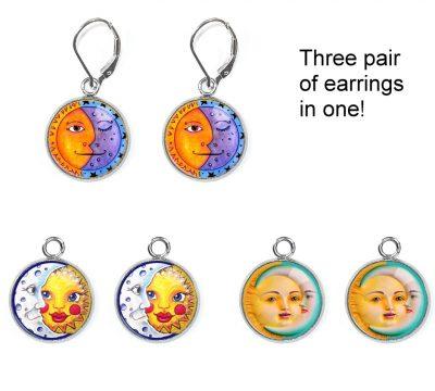 Sun Moon Earrings Set Earrings