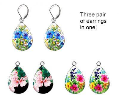 Watercolor Flowers Earring Set Earrings