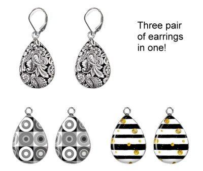 Black and White Interchangeable Earrings Earrings
