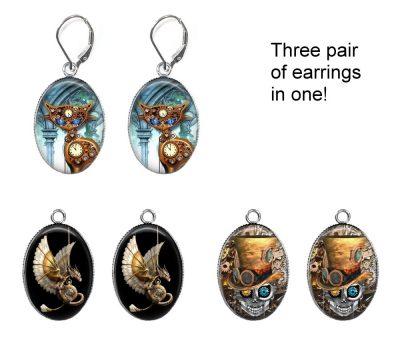 Steampunk Interchangeable Earrings Earrings