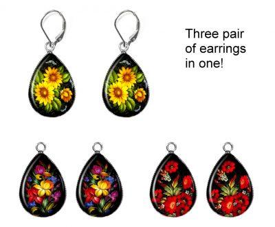 Zhostovo Flower Earring Set Earrings