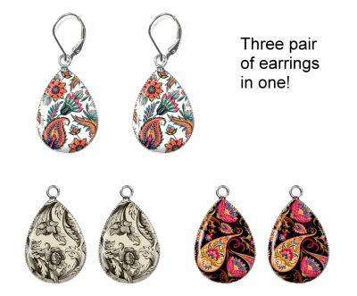 Vintage Paisley Interchangeable Earrings Earrings