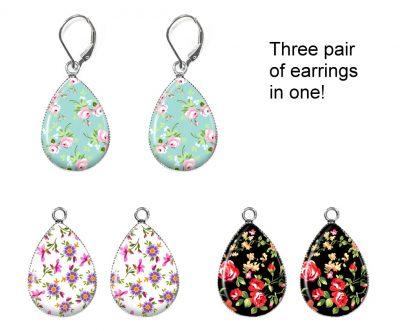 Floral Print Interchangeable Earrings Earrings